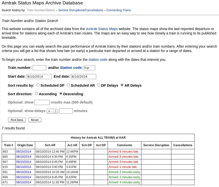 Amtrak Status Maps ASMAD   Amtrak Status Maps Archive Database   Frequently Asked  Amtrak Status Maps
